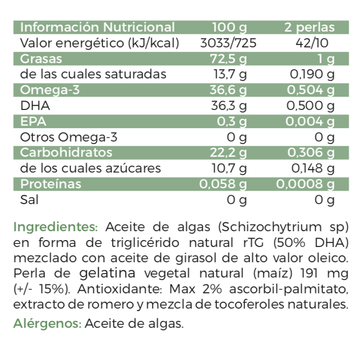 Composición Natural DHA Vegan